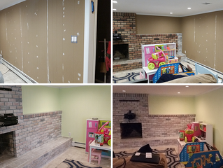 White Wash Brick Fireplace - Children / Family room in Woodmere, NY - New Update
