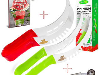 Watermelon, Melon Slicer Complete Bundle. Scoop/Baller, Fruit Carving Knife & Bonus Ebook