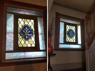 Interior stained glass window. Convent Richmond Hill, NY