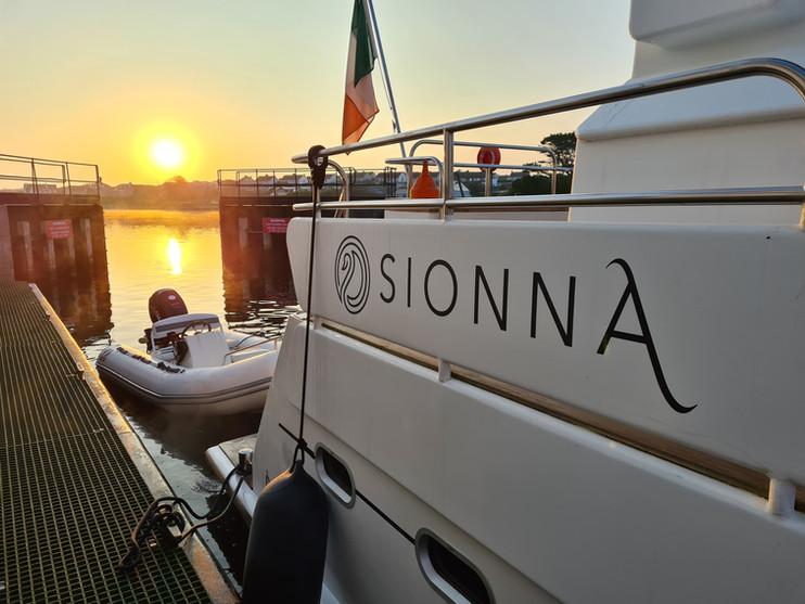 Sionna at Kilrush Marina Lock Gates