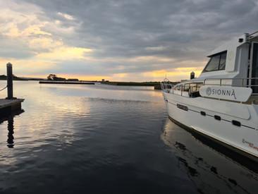Sionna at sunset moored at Kilrush Marina