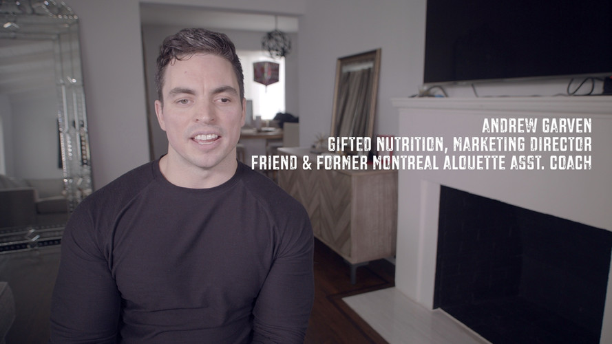 I met Andrew Garven in my second season with the Montreal Alouettes. He was an intern who was responsible for breaking down film. Sounds like a low level job. However, his job was one of the most important. When he started he wasn't even getting paid. He spent his life in that film room breaking down game footage. I immediately respected him a great deal. He put in years of work helping us become the best TEAM possible. He was without a doubt one of the smartest guys in any room who had a knack for communicating with people. Our entire TEAM started to understand how important he was to our organization. Because of his hard work and attention to detail, he transitioned into the sports supplements world where we were reunited. We worked together for another decade and built an awesome friendship. Having positive people like Andrew in my life has been a blessing. He's one of the most genuine humans on the earth and has a heart of gold. Thank you for sitting down with Monarch Productions to be a part of the @justakidfromfallriver film project. Thanks for being an amazing influence and friend.