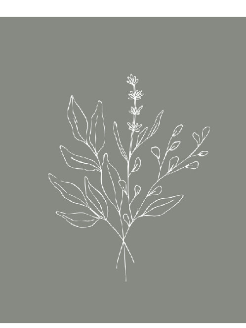 Esquisse Floral-3 Vert