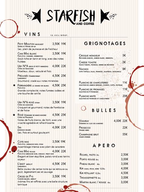 Carte des vins et grignotages