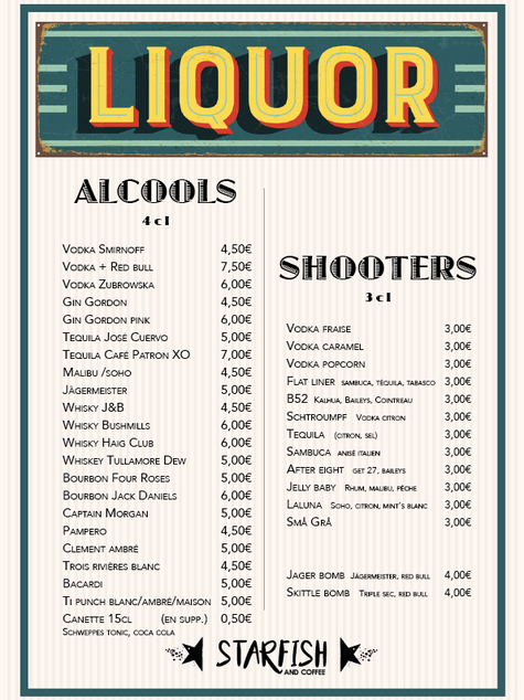 Carte des alcools et shooters