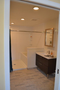 accessible bathroom ADA with grab bars toilet and shower Portland, Oregon