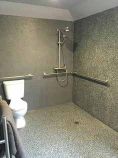 Accessible bathroom toilet and shower