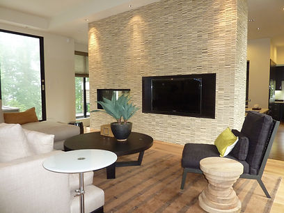 Living room setting with energy efficient fireplace.