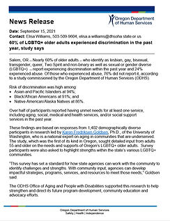 Oregon Department of Human Services LGBTQ+ Aging Adult Report News Release