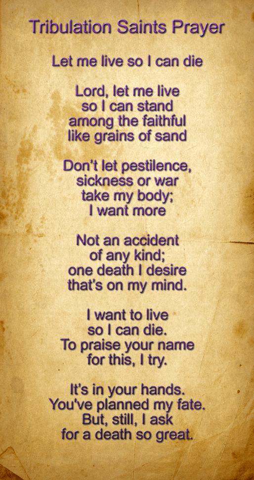 Tribulation Saints Prayer