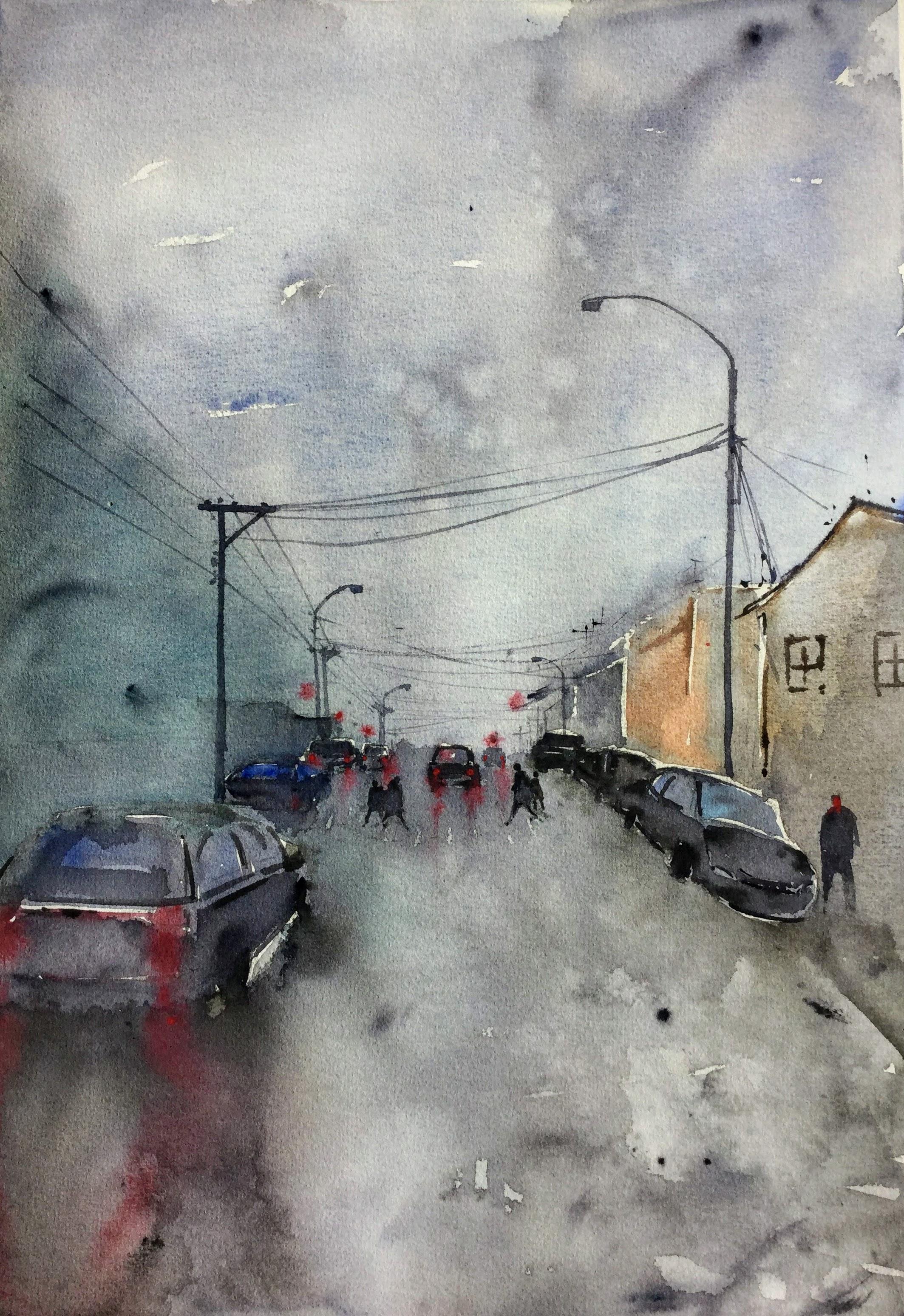 Rainy day Tinakori Street Wellington