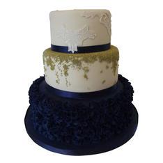 Navy Ruffle Wedding Cake