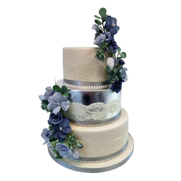 Silver Leaf Wedding Cake