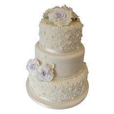 Lilac Roses Wedding Cake