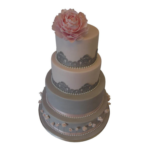 Pink & Grey Wedding Cake