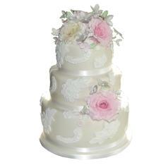 Lace & Roses Wedding Cake