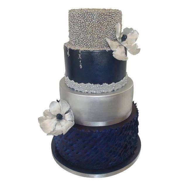 Navy & Silver Wedding Cake