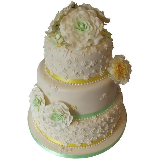 Mint Roses Wedding Cake