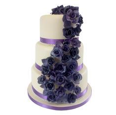 Purple Roses Wedding Cake