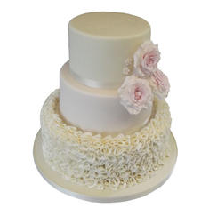 Ruffle & Roses Wedding Cake