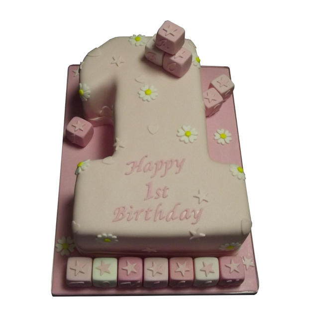 1st Birthday Cake with Name Blocks from £125