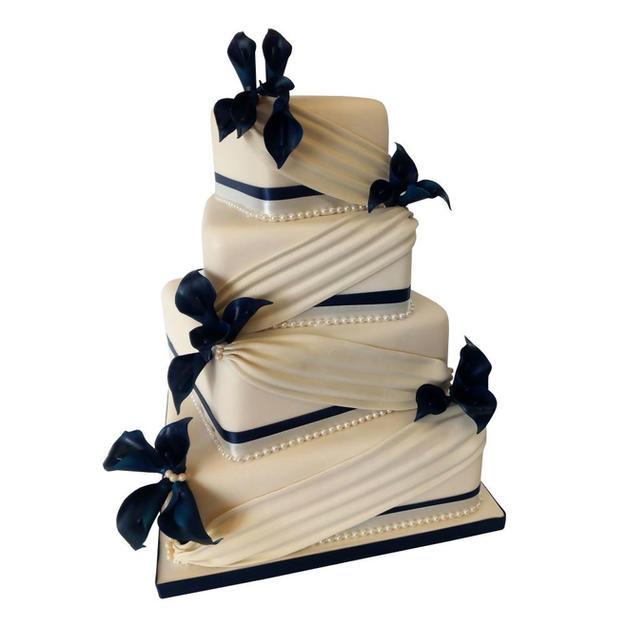 Navy Drape Wedding Cake