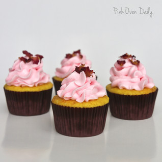 Saffron Cupcakes with Rose & White chocolate frosting (Eggless)