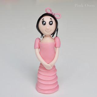 Fondant girl Cake topper