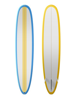 Blue white and yellow surfboard