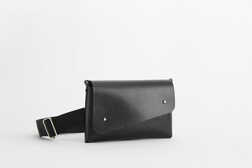 Belt Clutch Negro Simil Cuero