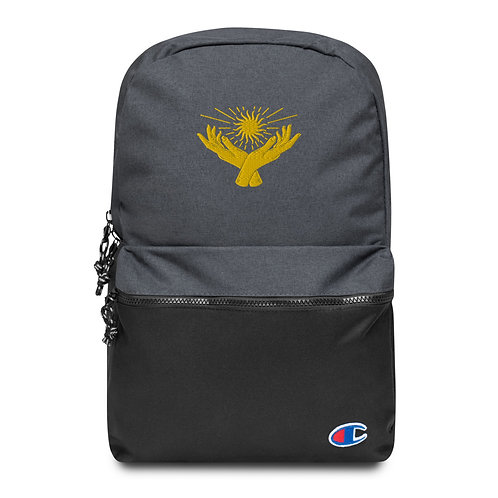 Sunny Hands Embroidered Champion Backpack Water Resistant