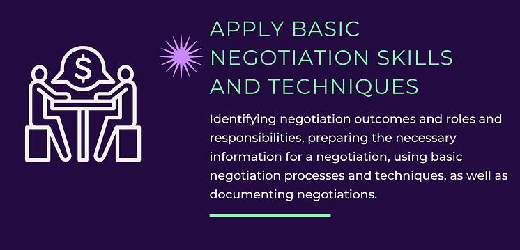 Apply Basic Negotiation Skills and Techn