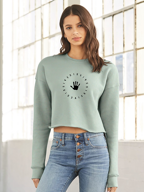 Women's Crop Sweatshirt - Turqoise