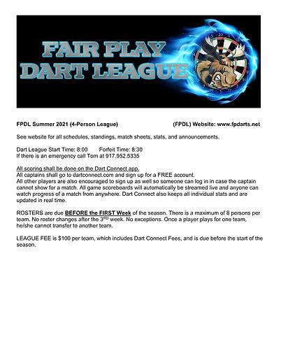 Fair Play Dart League Rules -4-person Su
