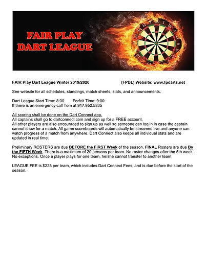 Fair Play Dart League Rules -Winter 2019