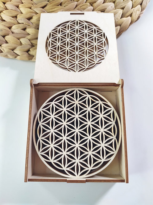 Wooden coasters ''Flower Of Life''