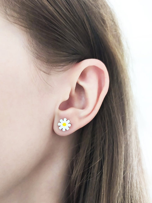 """Wooden earrings """"Chamomile"""" and """"Hepatica"""""""