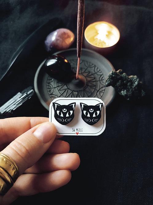Mediniai auskarai  ''Mėnulio katinai''
