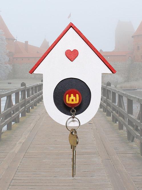 Rankų darbo vienetinė raktų kabykla ''Myliu Lietuvą''