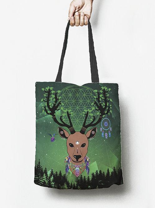 Linen tote bag ''Cosmic elk''