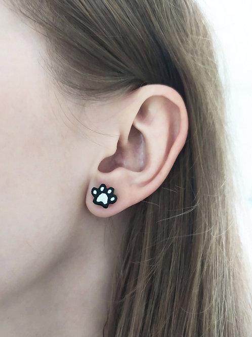 Wooden earrings ''Animal Paw''
