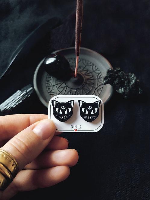 Wooden earrings  ''Moon cats''