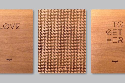 Essenza | Album portafoto/leporello con piatti in legno