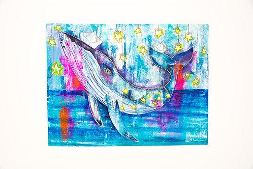 balene - tecnica mista - Valentina de Chirico