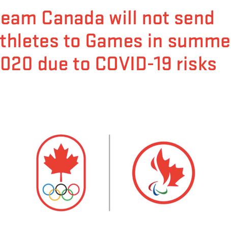 加拿大宣布退出2020东京奥运会 Canada refuses to go to Tokyo Olympics unless Games postponed
