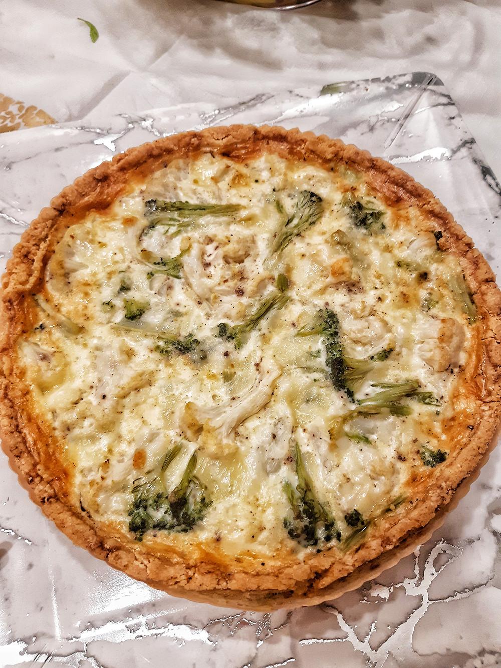 קיש, בטטה, גבינת עזים, קמח כחול, קמח ורוד, קמח דרך טבע, רויאל, ברוקולי, כרובית, קיש ברוקולי וכרובית