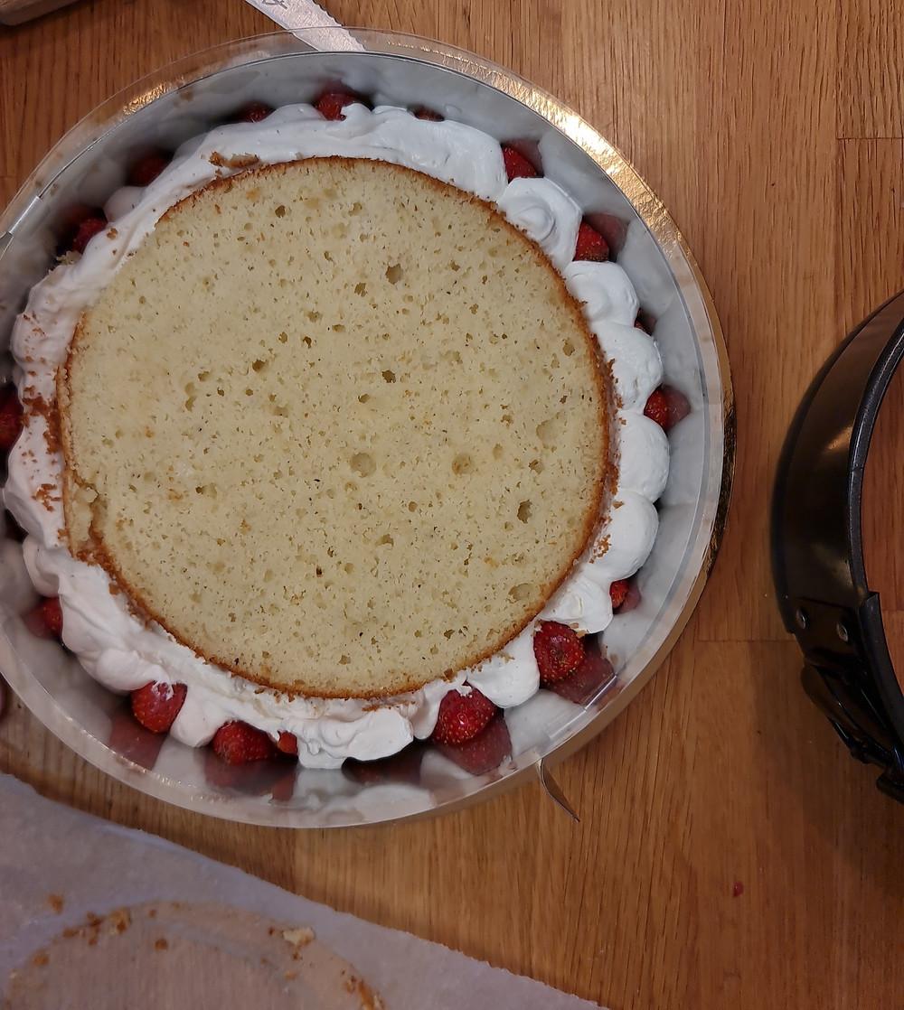 תותים, וניל, מסקרפונה, עוגת וניל תותים ומסקרפונה דרך טבע, עוגה ללא גלוטן, עוגה פליאו