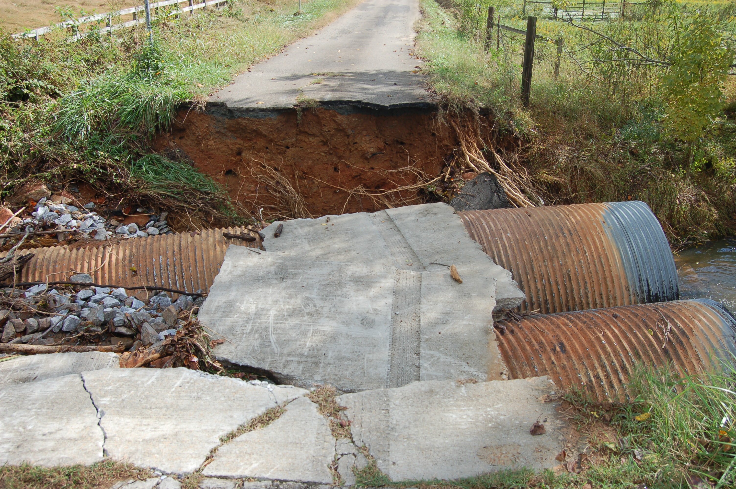 Washed away road in Cherokee County