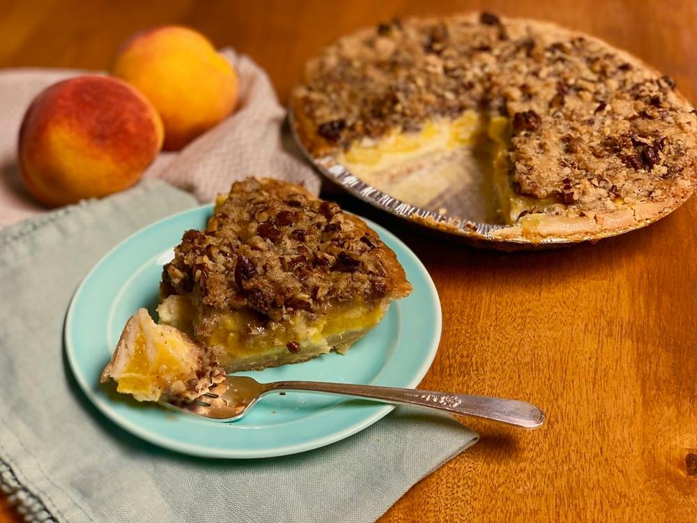 Gluten Free Georgia Peach Pecan Praline Pie, Georgia Peaches, Peach Pie, Gluten Free Peach Pie, Gluten Free Pecan Peach Pie