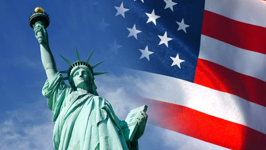 statue of liberty, American flag